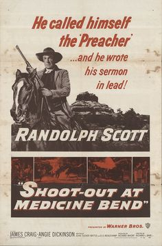 """Shoot-out At Medicine Bend 1957 Authentic 27"""" x 41"""" Original Movie Poster Randolph Scott Western U.S. One Sheet"""