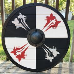 Custom Viking shield with wolf graphics