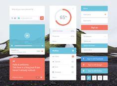 Flat & Colorful UI Kit Free PSD