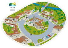 Une représentation isométrique d'un petit village. Illustrations, Creations, Art, Graphic Design, Art Background, Illustration, Kunst, Performing Arts, Art Education Resources
