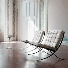 The 'Barcelona Chair' designed by Ludwig Mies van der Rohe in 1929 and reintroduced by Knoll International in 1953. A Modernist icon.