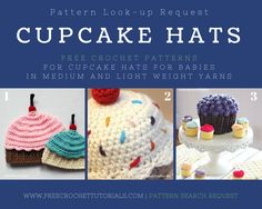 Cupcake Hat Patterns - Pattern Lookup by Free Crochet Tutorials. Crochet one of these sweet cupcake hats for your little one and have the cutest photos around! Crochet Cupcake Hat, Crochet Cap, Crochet Round, Crochet Baby Hats, Crochet Beanie, Crochet For Kids, Free Crochet, Baby Cupcake, Crochet Birds