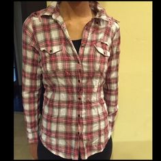 Gap Plaid Shirt Pink and Brown long sleeve button down shirt. Pockets on the front and another small pocket on the sleeve. Gently worn, and two small barely noticeable bleach stains on the front of the shirt. GAP Tops Button Down Shirts