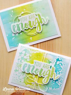 You Are Enough encouragement cards featuring Fun Stampers Journey stamps and the Gel Press | card sand tutorial created by Laura Williams | handmade DIY papercrafts