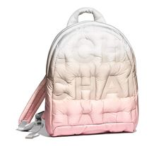 For Sale on - Chanel Doudoune Embossed Nylon Backpack is perfect for any Spring/Summer months. It is pretty lightweight, with hardware kept to a minimum. Chanel Backpack, Leather Backpack, White Backpack, Mochila Chanel, Karl Lagerfeld, Fashion Bags, Fashion Backpack, Chanel Rose, Chanel Chanel
