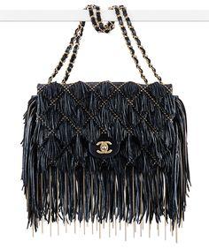 Chanel Sueded Leather Fringe Flap Bag