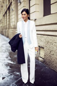 Gary Pepper Girl is black tie ready in tailored white suit.