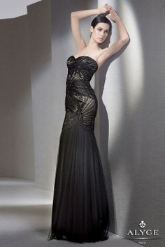 Beautiful detailed Alyce Paris black evening gown