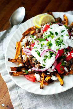 Loaded Greek Sweet Potato Fries | ourfourforks.com