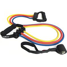 Resistance Band Set for Exercise  Fitness and Crossfit Training  Single And Adjustable Handles  Sold Individually or as Set *** Click on the image for additional details.