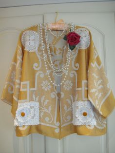 1920's Style Opulent and Decandent  Plus Size Vintage Linen Old Gold Rayon Cotton Jacket with Lace Crochet Antique Doilies Buttons
