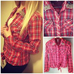 Red cowboy shirt with silver spikes