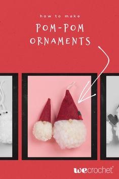 How to Make Pom-Pom Ornaments - WeCrochet Staff Blog Gnome Ornaments, Hanging Ornaments, Dollar Store Crafts, Dollar Stores, Office Ornaments, Plaid Crochet, Circle Template, Pom Pom Maker, How To Make A Pom Pom