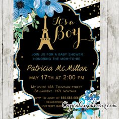 Celebrate the arrival of a new baby boy with this printable blue floral shabby chic Paris themed baby shower invitation. This elegant Parisian baby shower invitation features the Eiffel Tower against a black and white striped background with gold glitter confetti. #cupcakemakeover