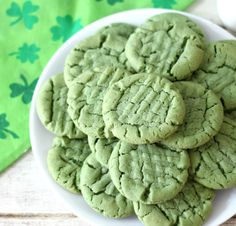 St. Patrick's Day Peanut Butter Cookies - Peanut Butter flavored cookie with a soft center and crispy edges with a pinch of green food coloring to add holiday color.