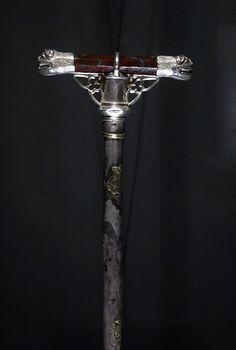 Pilgrims staff, Santiago de  Compostela, ca. 1325; Silver, jasper, wood and chromatic layer, Coimbra, Confrairia de Rainha Santa Isabel.