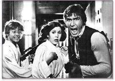 STAR WARS : Shooting photo | Mark HAMILL (Luke SKYWALKER), Carrie FISHER (Leia ORGANA) and Harrison FORD (Han SOLO) | Episode IV : A New Hope (1977)
