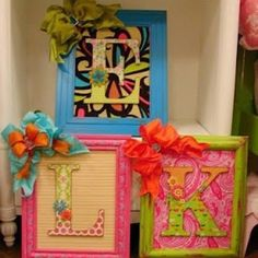 Painted frames, scrap book paper back ground and cardboard letters