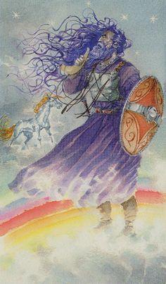IX. The Hermit (Heimdallr) - Vikings Tarot by Manfredi Toraldo, Sergio Tisselli