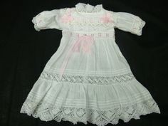 FRENCH FINE WHITE BATISTE ANTIQUE DOLLS DRESS WITH TUCKS AND LACE