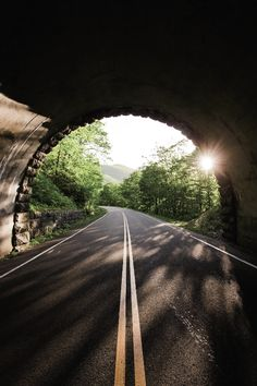 Coming out of one of the many tunnels along the Blue Ridge Parkway in the Appalachian Mountains of North Carolina.