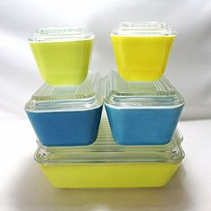 5 Pyrex Refrigerator Dishes Covers Lids Yellow Blue Free Shipping #Pyrex