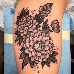 black and grey flower tattoos - Google Search