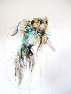 'Fish With Gold' painting by Michael Cain- Gnashing Teeth (gnashingteeth)