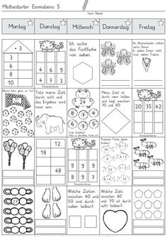 Mathestarter 1x1 - Woche 5 und 6 | Zaubereinmaleins - DesignBlog | Bloglovin' Math For Kids, Fun Math, Math Activities, Math Math, Kindergarten Math, Teaching Math, Spiral Math, German Language Learning, 1st Grade Worksheets