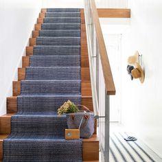 Herringbone Indigo Woven Cotton Rug dash and albert Wall Carpet, Carpet Stairs, Basement Carpet, Carpet Runner On Stairs, Cheap Carpet, Indigo, Home Design, Staircase Runner, Houses
