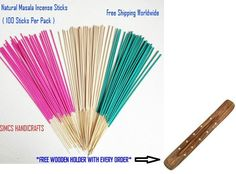 100 Sticks Vanilla Incense Natural Home Fragrance With Free 10Inch Wooden Holder #SIMCSHANDICRAFTS