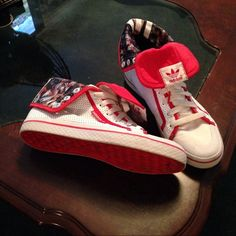 Adidas High top REDUCED AGAIN Adidas  size 7.5 red & white fold down or wear up. worn once or twice, Excellent  condition These are so unique & stylish, no box, price  reflects. like FREE Shipping Adidas Shoes Sneakers