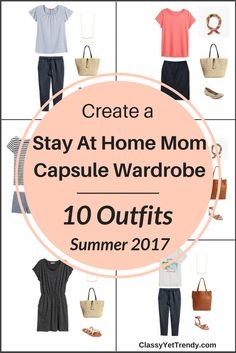 Create a Stay At Home Mom capsule wardrobe for the Summer on a budget! I'm sharing a few featured items in the capsule wardrobe and shows how you can mix and match those items to create several outfits! Featured items include a flutter sleeve top, striped top, yoga leggings, shorts, jeans and sleeveless top.