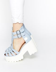 ASOS ELANA T Bar Cut Out Chunky Ankle Boots