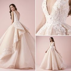 The nude plunging neckline sleeveless wedding dress from #Bridal2018 by #SaiidKobeisyBridal! We'll keep 'em comin' ! #SaiidKobeisy