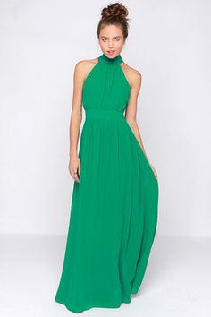 LuLu*s Exclusive! Lorde may never be a royal, but at least you can look like one in the Modern Duchess Green Maxi Dress! Composed from a lightweight Georgette fabric, this elegant green gown has plenty of captivating features for your next formal event. The high halter neckline wraps above the billowing bodice to tie above, and drape over, a sexy back cutout. Full maxi skirt flows from the banded waist. Hidden back zipper/clasp closure. Dress is fully lined. Self: 97% Polyester, 3% Spandex…