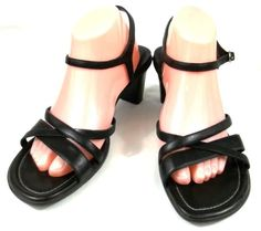 Ecco Shoes Womens Size US 11 11.5 M EUR 42 Black Leather Ankle Strap Heels #ECCO #AnkleStrap