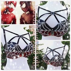 Dark Spiderman Halloween Costume Rave Bra by LuxCustomApparel