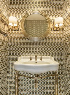 Cole & Son David Hicks wallpaper + Catchpole & Rye basin by Amber Design Group