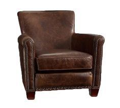 Irving Leather Armchair, Bronze Nailheads, Polyester Wrapped Cushions, Molasses at Pottery Barn Upholstered Arm Chair, Swivel Armchair, Chair Cushions, Pottery Barn, Oversized Furniture, Leather Club Chairs, Leather Recliner, Leather Sofas, Leather Furniture