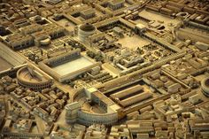 Model of Ancient Rome, with the Theatre of Pompey (bottom right) and the Pantheon (upper center)