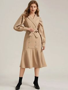 To find out about the Notched Collar Self Belted Ruffle Hem Blazer Dress at SHEIN, part of our latest Blazers ready to shop online today! Modern Outfits, Stylish Dresses, Classy Outfits, Trendy Outfits, Fashionable Outfits, Blazer Dress, Dress Skirt, Skirt Fashion, Fashion Dresses