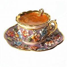 Teacup Box Swarovski Crystals 24K Gold Jewelry, Trinket or Pill Box