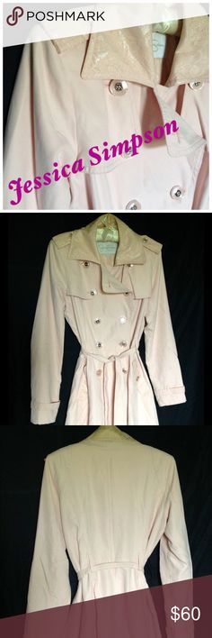 Jessica Simpson Pale Pink Trench Jessica Simpson Pale pink trench with lace trim. EUC, only worn a few times but has not been laundered. All items I'm modeling are for sale in my closet. Jessica Simpson Jackets & Coats Trench Coats