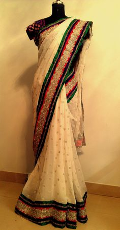white saree with boarders