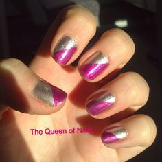 The Queen of Nails ~ taped mani. Pink and silver.