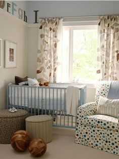 Sarah's House nursery - love the chair, combo of patterns, soothing colors and decorative letters