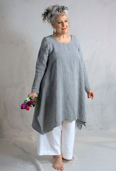 Round Neck tunic £260, linen over Morocco trousers (long) £215, linen.