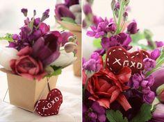 Sweet little Valentine's Day flower arrangement.