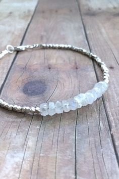 Rainbow Moonstone Bracelet, Hill Tribe Silver Jewelry, Tiny Bead Bracelet